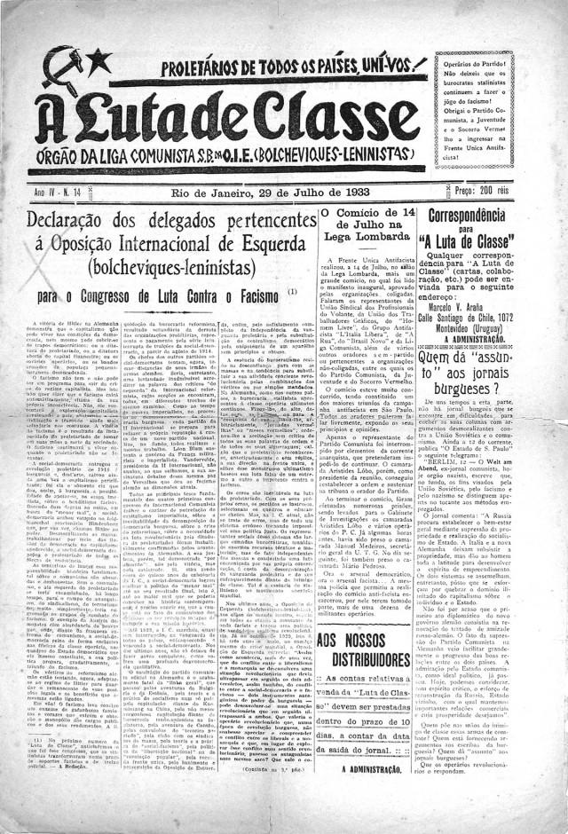 """""""A Luta de Classe"""" , órgão oficial da Liga Comunista Internacionalista"""