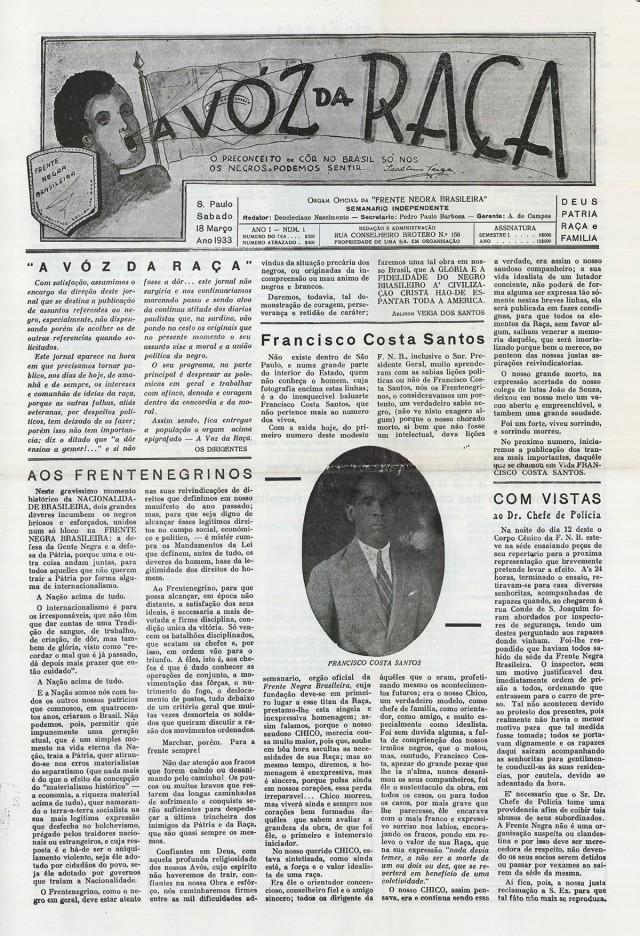 """""""A Voz da Raça"""":  primeiro número"""