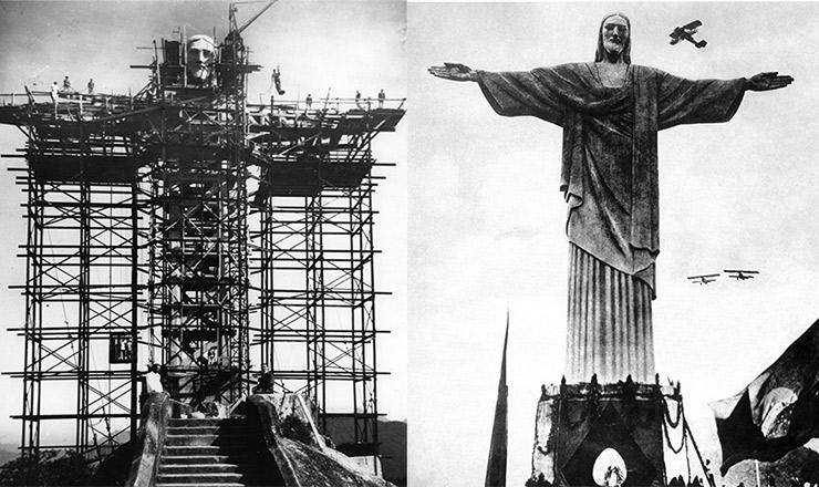 <strong> Cristo Redentor </strong> em dois momentos:<strong> </strong> em 1930 (durante a montagem) e na inaugura&ccedil;&atilde;o.