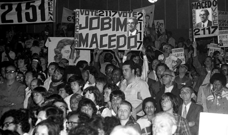 <strong> Cabos eleitorais</strong> em campanha nas eleições municipais de 1976