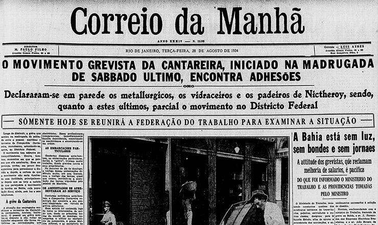<strong> Manchete do &ldquo;Correio da Manh&atilde;&rdquo;,</strong> edi&ccedil;&atilde;o de 28 de agosto, sobre a greve&nbsp;