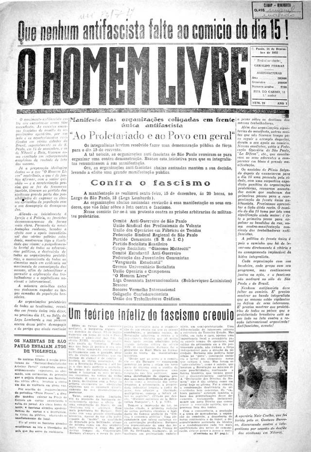 """""""O Homem Livre"""": manifesto da Frente Única Antifascista, edição de 14 de dezembro de 1933"""