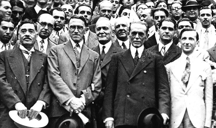 <strong> Ataliba Leonel, Altino Arantes, Francisco Morato e Vicente Rao,</strong> dirigentes da Frente &Uacute;nica Paulista&nbsp;